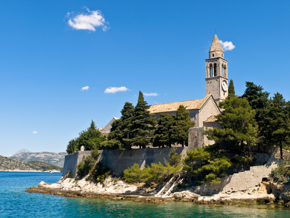 'Catholic monastery on island Lopud, near Dubrovnik, Croatia.' - Dubrovník